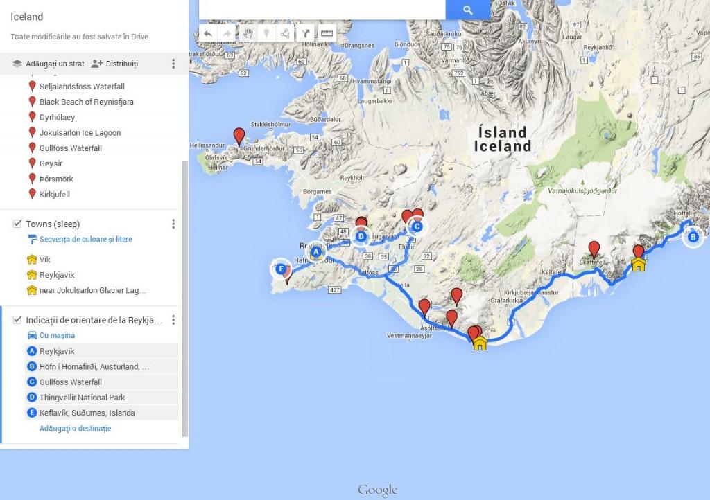Harta Calatorie Islanda 2015