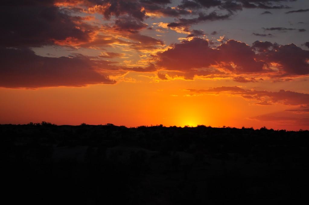 Sunset in Karakum desert